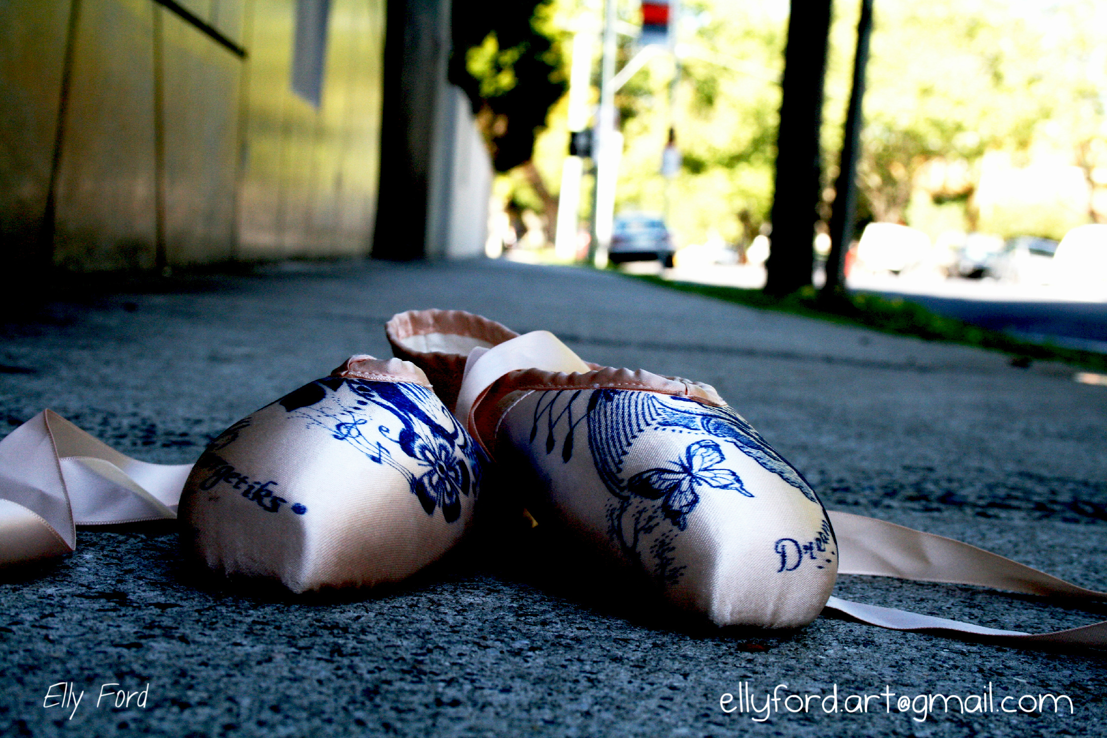 Bedazzled pointe shoes